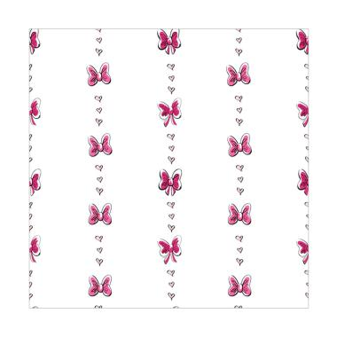Minnie Mouse Bow Stripe White Pink Black Wallpaper Sticker Dinding
