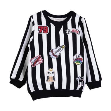 Chloebaby Shop F981 Sweater Stripe Jacket Anak Perempuan - Multicolor