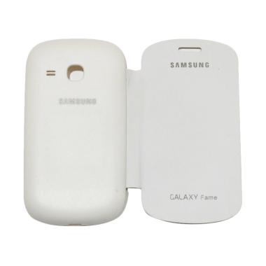 VR Flip Cover Casing for Samsung Ga ... ather / Sarung Hp - White