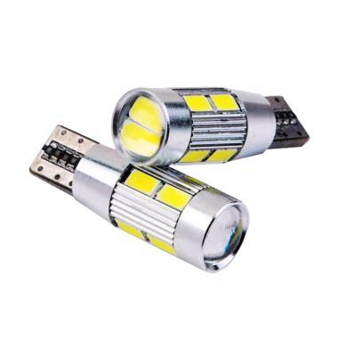 JMS Senja T10 Wedge Side CANBUS 10 SMD 5730 LED 6000K Lampu LED Mobil Atau Motor - White [1 Pair/2 Pcs]