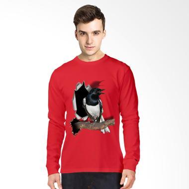 T-Shirt Glory Kaos 3D Burung Kacer  ... ngan Panjang Pria - Merah
