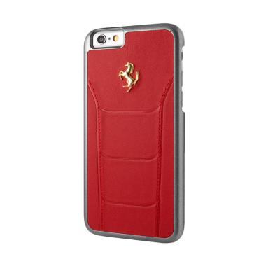 Ferrari Gold Debossed Leather Casin ... or iPhone 6S Plus - Merah