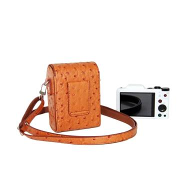 Third Party Motif Grain PU Leather Case for Kamera Mirrorless - Coklat