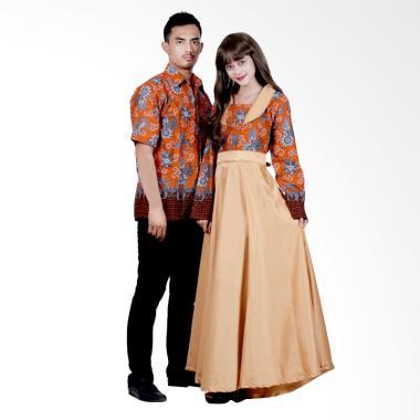 Batik Putri Ayu Solo Sarimbit SRG115 Batik Gamis Modern - Orange