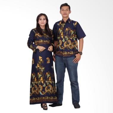 Batik Putri Ayu Solo Gamis Modern Srg201 Baju Batik Couple Biru