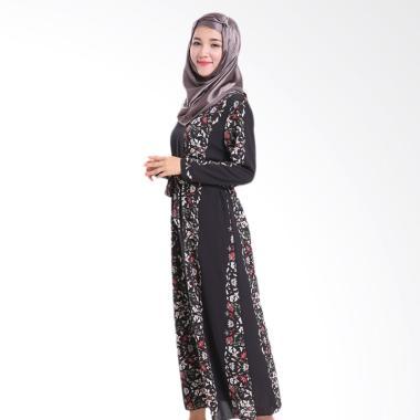 chloe-s-clozette_chloe-s-clozette-baju-muslim-dress-gamis-lengan-panjang-kode-md-20-hitam_full05 10 Daftar Harga Model Busana Muslim Batik Kombinasi Terbaru Terbaik waktu ini
