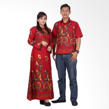 Batik Putri Ayu Solo Gamis Modern srg201 Baju Batik Couple - Merah