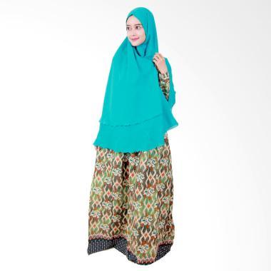 Batik Putri Ayu Solo Gamis Syari GH3 Dress Muslim - Hijau Muda