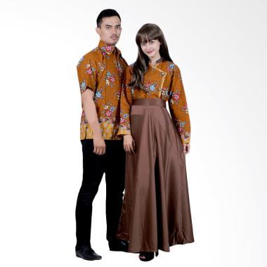 Batik Putri Ayu Solo SRG110 Sarimbit Gamis Modern Batik - Cokelat