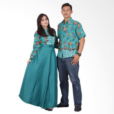 Batik Putri Ayu Solo Gamis Modern srg200 Baju Batik Couple - Hijau