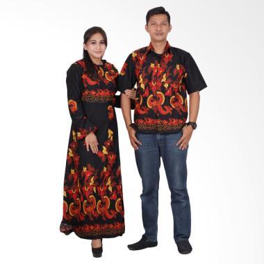 Batik Putri Ayu Solo Gamis Modern srg201 Baju Batik Couple - Hitam