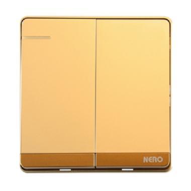 Nero Decora Q71621-G Saklar Listrik - Gold [2 Gang 1 Way Switch with Fluorescent Locator]
