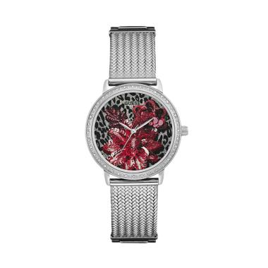 GUESS W0822L1 Crystal Motif Leopard ... am Tangan Wanita - Silver