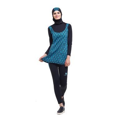Tiento Black Turquoise Swimwear Hijab Baju Renang Muslimah Wanita