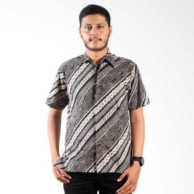 Batik Nulaba Printing Parit Rembulan Kawung Monochrome Kemeja Pria