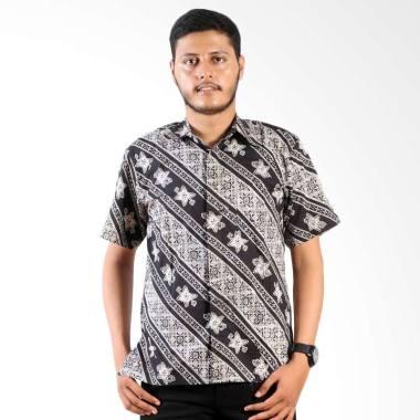 Batik Printing Pria Kemeja Lengan P ... embang Cengkeh Monochrome