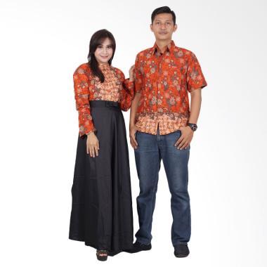 Batik Putri Ayu Solo Gamis Modern srg200 Baju Batik Couple - Orange