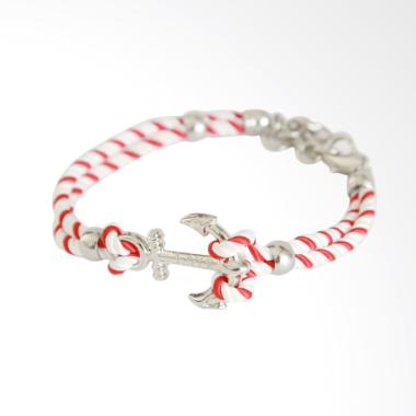 Gina Adornments Red Stripes Cotton Cords Bracelet with Silver Anchor