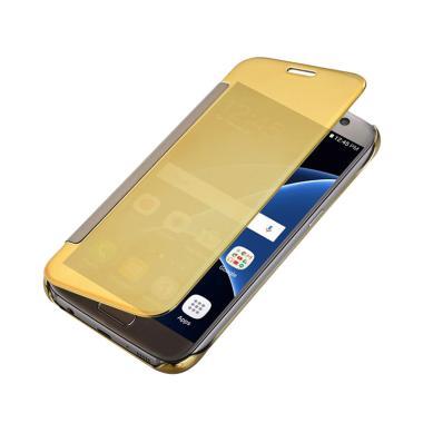 Case Mirror Hardcase Flip Cover Casing for Samsung Galaxy S7 Edge - Gold