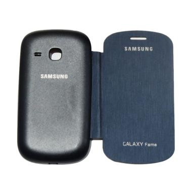 VR Flip Cover Casing for Samsung Ga ... eather / Sarung Hp - Navy