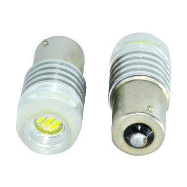 JMS S25 1156 BA15S 3W COB Concave Lens Strobe Flashing Lampu LED Mobil Dan Motor - Yellow [1 Pair/2 Pcs]