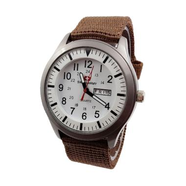 Jam Tangan Swiss Army Unisex D43H70 ... date Canvas Strap - Brown