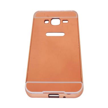 QCF Bumper Mirror Alumunium Metal Sliding Hardcase Casing for Samsung Galaxy J3 J300 - Rose Gold