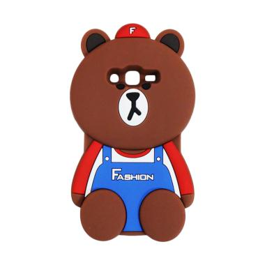 QCF Karakter 3D Bear Fashion Edition Silicon Softcase Casing for Samsung Galaxy J2 Prime - Coklat