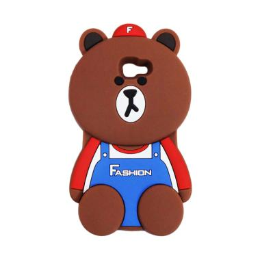 QCF Karakter 3D Bear Fashion Edition Silicon Softcase Casing for Samsung Galaxy J7 Prime - Coklat