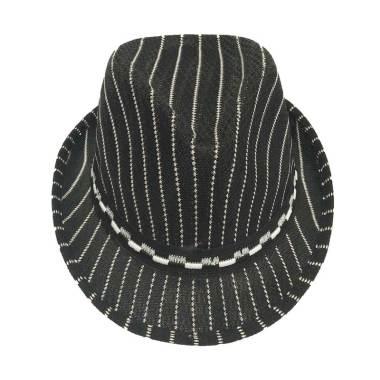 D&D Hat Collection Fashion Fedora H ... nisex Motif Salur - Hitam