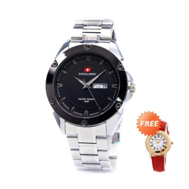 Swiss Army SA150881M GAS Stainless  ...  + Free Jam Tangan Casual