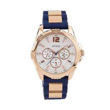 GUESS W0325L8 Intrepid Guess Watch Rubber Stainless Steel Jam Tangan Edisi  Wanita - Rose Gold Blue 0ddfebcf68