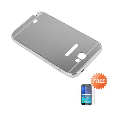 Case Bumper Chrome with Backcase Mirror for Samsung Galaxy Note 2 - Silver + Free Tempered