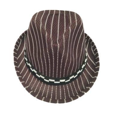 D&D Hat Collection Fashion Fedora H ... isex Motif Salur - Coklat