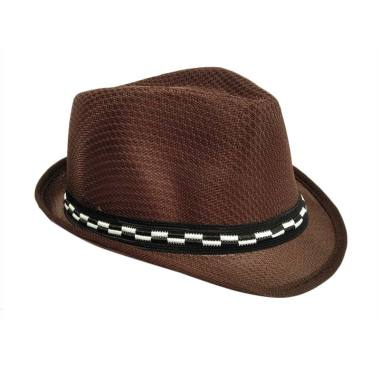 D&D Hat Collection Fashion Fedora H ... isex Motif Polos - Coklat