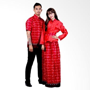 Batik Putri Ayu Solo Gamis Katun Ve ... Baju Batik Couple - Merah
