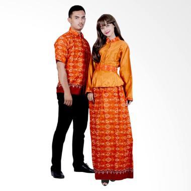 Batik Putri Ayu Solo Gamis Katun Ve ... aju Batik Couple - Orange