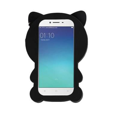 QCF 3D Black Cat Kucing Softcase Ca ... iphone 7 4.7 Inch - Black