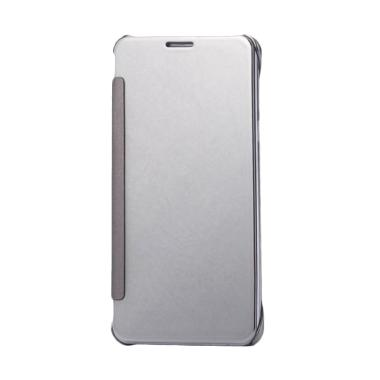 Case Mirror S View Transparan Flip Cover Casing for Samsung Galaxy Note 4 - Silver