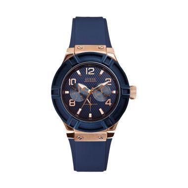 GUESS W0571L1 Jet Setter Guess Watch Rubber Stanless Steel Case Chronograph Jam Tangan Wanita - Blue