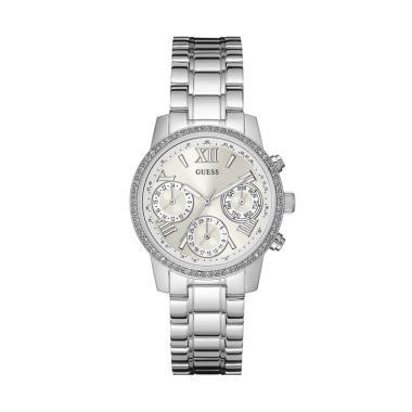 GUESS W0623L1 Mini Sunrise Guess Watch Diamond Kyrstal Stainless Steel Jam Tangan Wanita - Silver