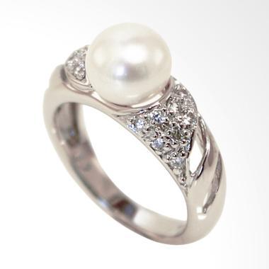 Gina Adornments Sterling Silver Rin ... White Pearl Cincin Wanita
