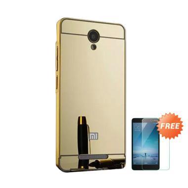 Case88 Mirror Aluminium Bumper with Sliding Casing for Xiaomi Redmi Note 2 - Gold + Free