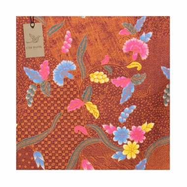 Cek Batik Motif Unik Bunga Jawa Kain - Coklat