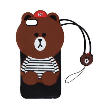 QCF Silicon 3D Karakter Boy Bear Li ... gan for OPPO A57 - Coklat