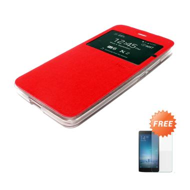 Ume Leather Flip Cover Casing for Samsung Galaxy Note 5 or N9200 - Merah + Free