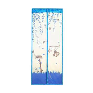 Eigia Mosquito Magic Mesh Motif Jungle Tirai Pintu Magnet Anti Nyamuk Serangga Lalat - Biru