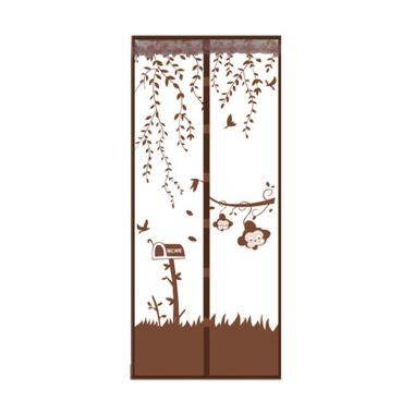 Tirai Magnet Motif Garden Monkey - Coklat
