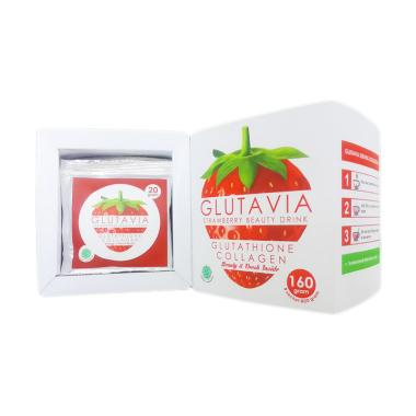 Glutavia Strawberry Beauty Drink Minuman Kesehatan [20 g/8 sachet]