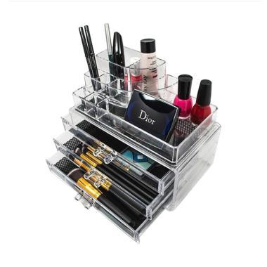 Acrylic Makeup Tipe B Tempat Peralatan Make Up - Putih